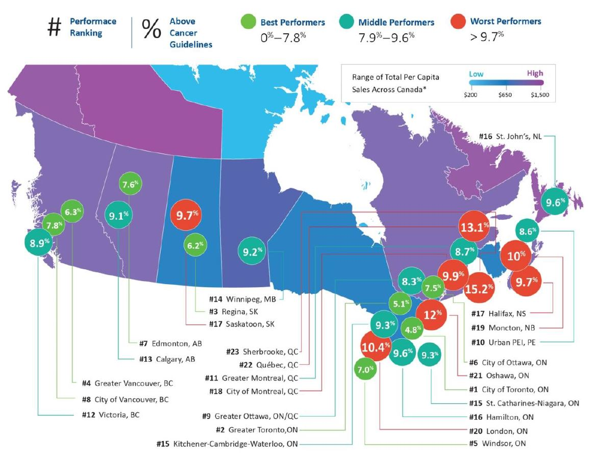 This map of Canada highlights percentages in large cities where alcohol consumption is above cancer guidelines