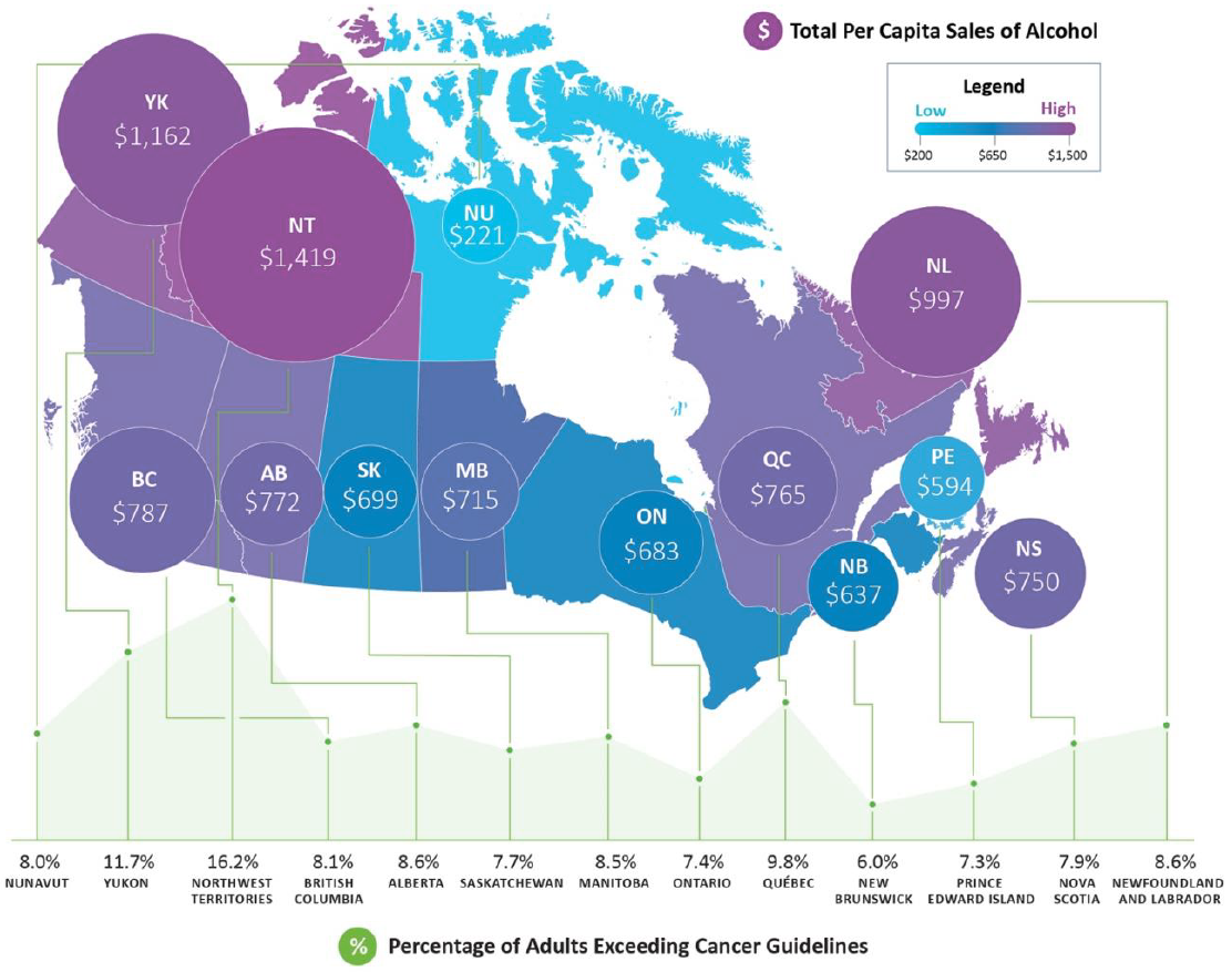 Map of Canadian provinces and territories indicating total dollars per capita sales of alcohol