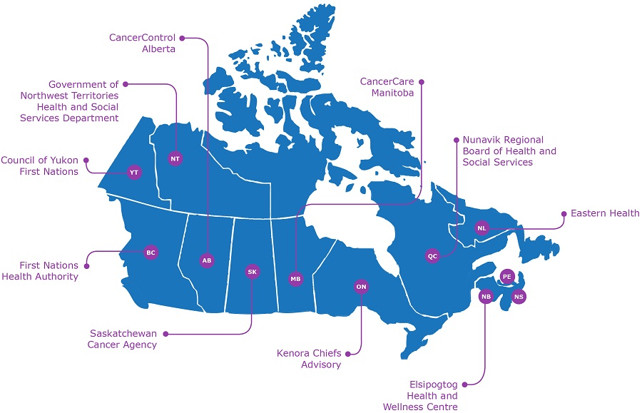 map of Canada showing location of partners