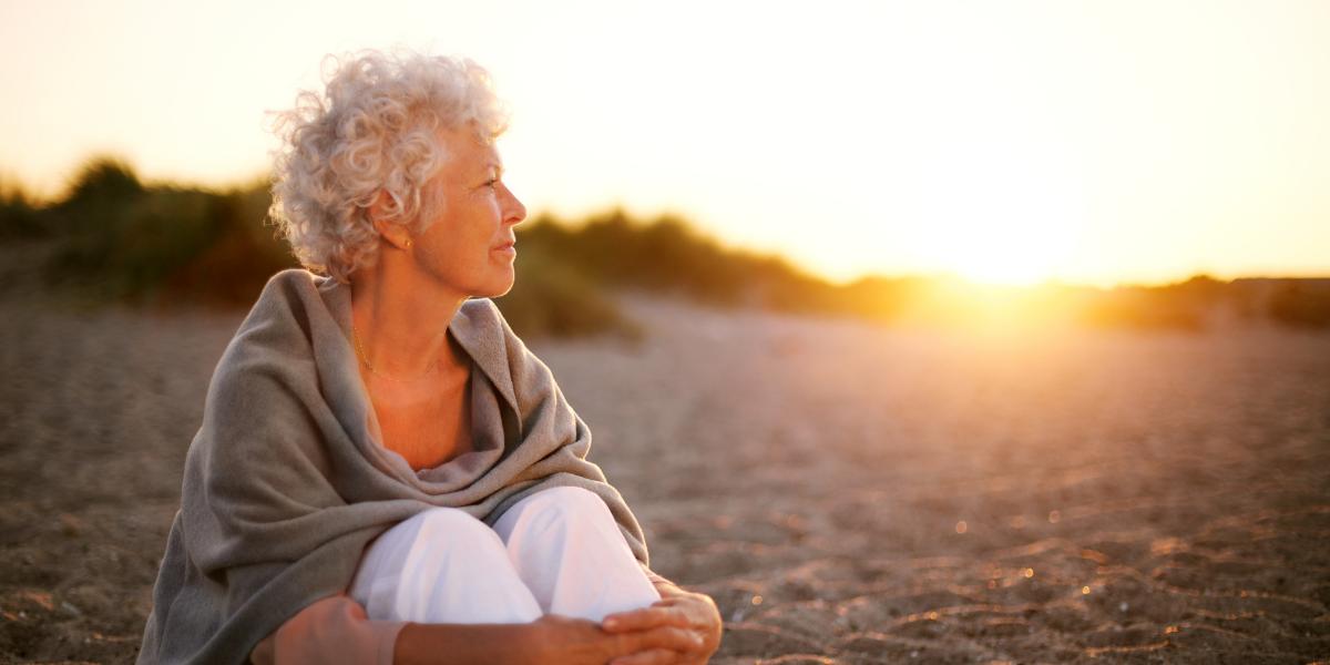 senior woman on beach